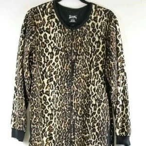 Nick& Nora Womens L Footed Pajamas Fleece Leopard